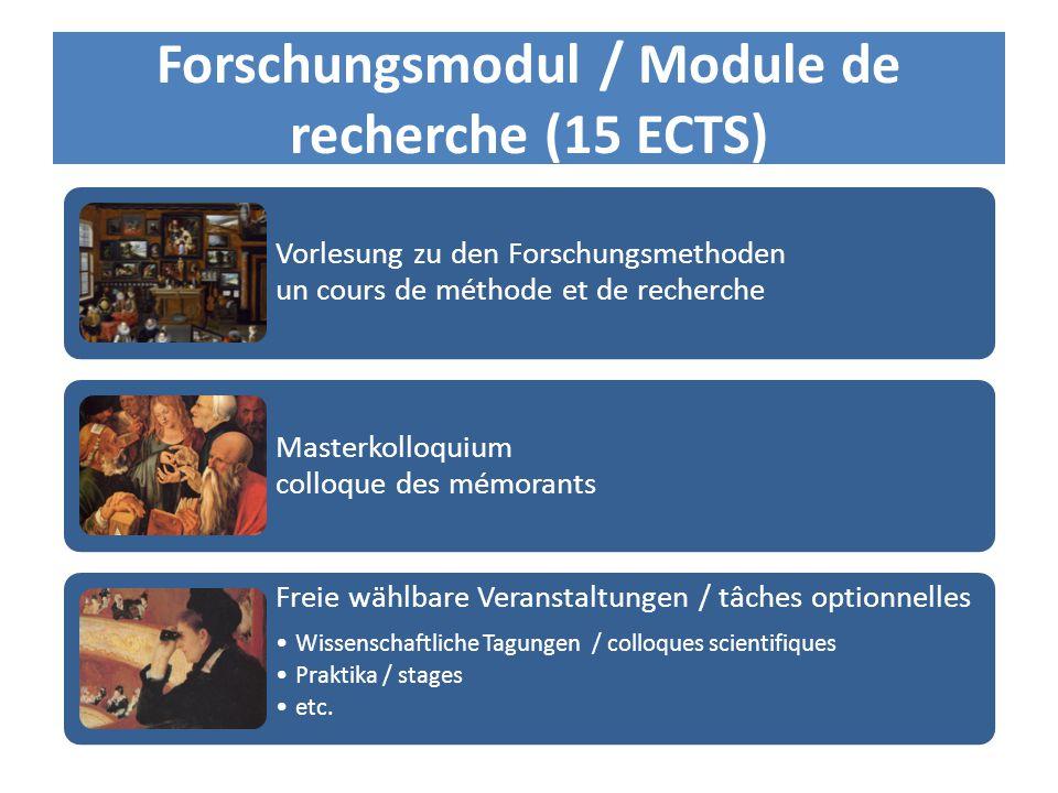 Forschungsmodul / Module de recherche (15 ECTS) Vorlesung zu den Forschungsmethoden un cours de méthode et de recherche Masterkolloquium colloque des mémorants Freie wählbare Veranstaltungen / tâches optionnelles Wissenschaftliche Tagungen / colloques scientifiques Praktika / stages etc.