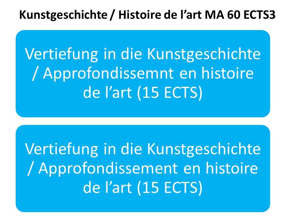 Kunstgeschichte / Histoire de l'art MA 60 ECTS3 Vertiefung in die Kunstgeschichte / Approfondissemnt en histoire de l'art (15 ECTS) Vertiefung in die Kunstgeschichte / Approfondissement en histoire de l'art (15 ECTS)