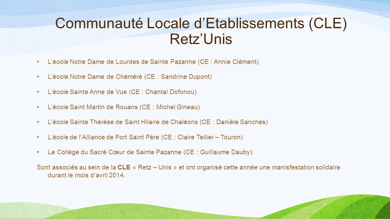Communauté Locale d'Etablissements (CLE) Retz'Unis L'école Notre Dame de Lourdes de Sainte Pazanne (CE : Annie Clément) L'école Notre Dame de Chéméré