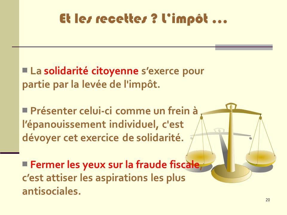 20 ■ La solidarité citoyenne s'exerce pour partie par la levée de l'impôt. ■ Présenter celui-ci comme un frein à l'épanouissement individuel, c'est dé