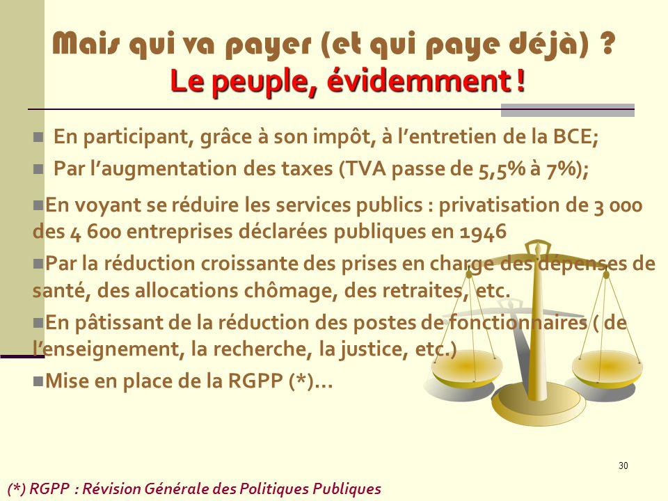 30 En participant, grâce à son impôt, à l'entretien de la BCE; Par l'augmentation des taxes (TVA passe de 5,5% à 7%); (*) RGPP : Révision Générale des