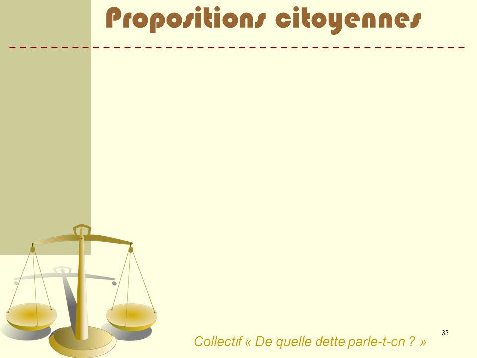 33 Collectif « De quelle dette parle-t-on ? » Propositions citoyennes