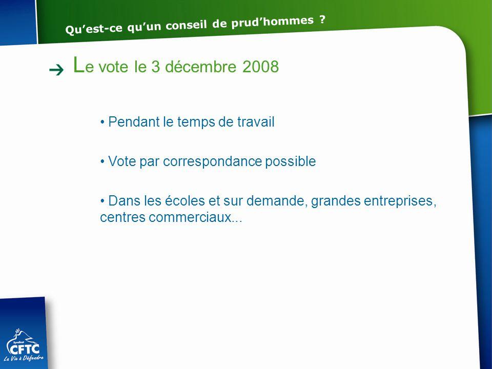 L e vote le 3 décembre 2008 Pendant le temps de travail Vote par correspondance possible Dans les écoles et sur demande, grandes entreprises, centres
