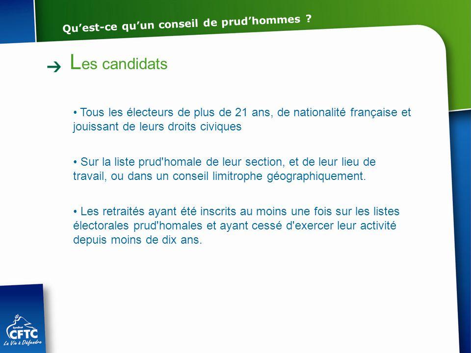 L es candidats Tous les électeurs de plus de 21 ans, de nationalité française et jouissant de leurs droits civiques Sur la liste prud'homale de leur s
