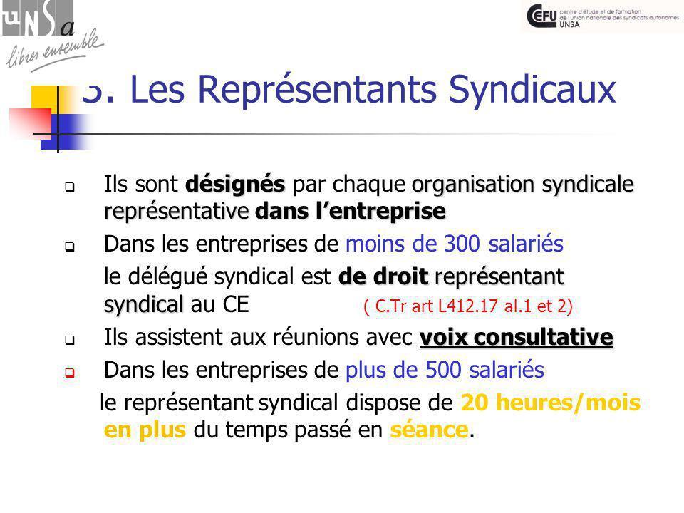 3. Les Représentants Syndicaux désignésorganisation syndicale représentativedans l'entreprise  Ils sont désignés par chaque organisation syndicale re