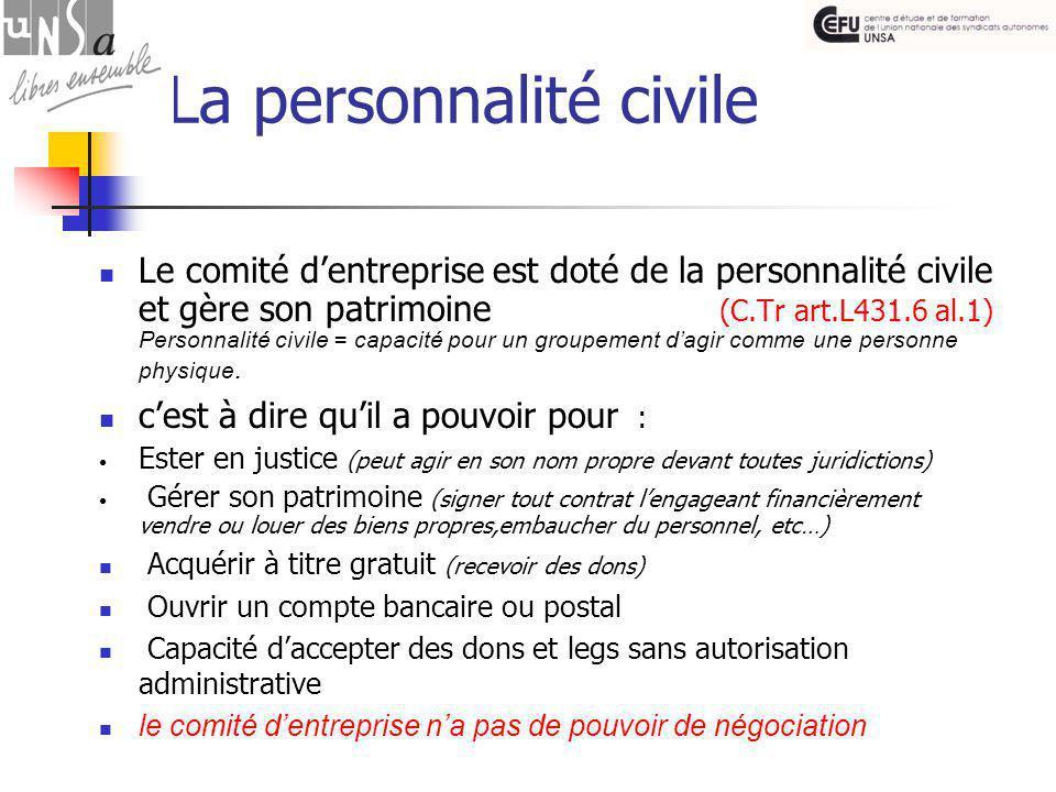La personnalité civile Le comité d'entreprise est doté de la personnalité civile et gère son patrimoine (C.Tr art.L431.6 al.1) Personnalité civile = capacité pour un groupement d'agir comme une personne physique.