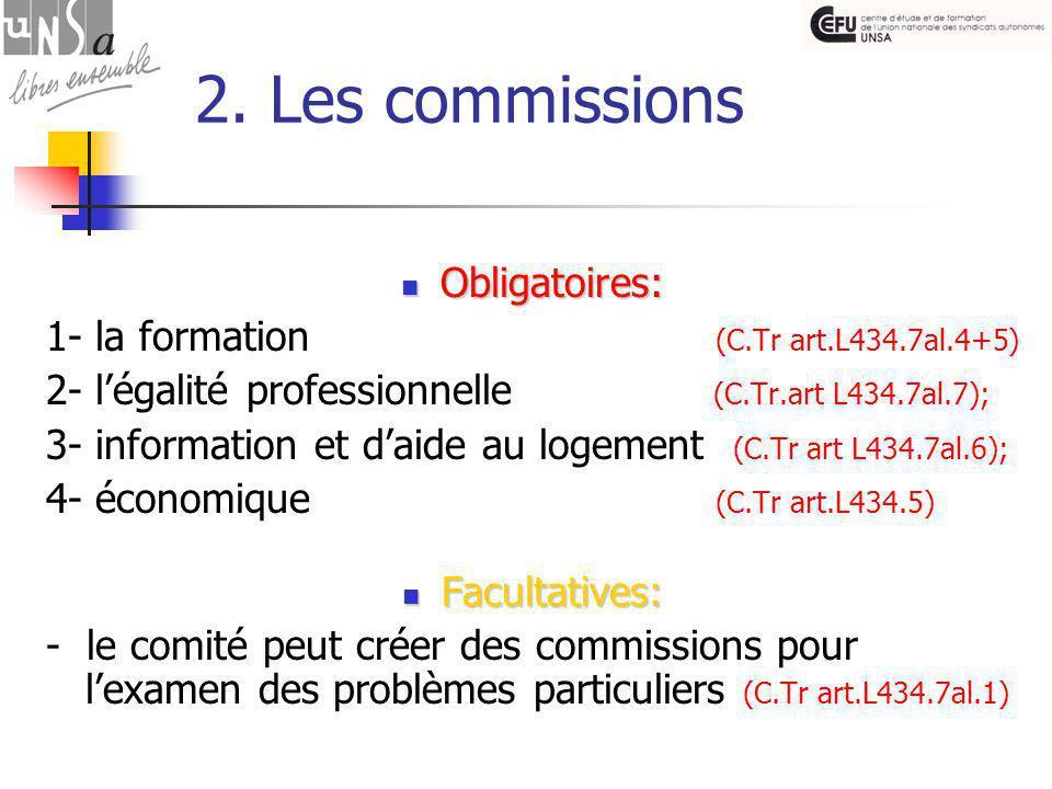 2. Les commissions Obligatoires: Obligatoires: 1- la formation (C.Tr art.L434.7al.4+5) 2- l'égalité professionnelle (C.Tr.art L434.7al.7); 3- informat