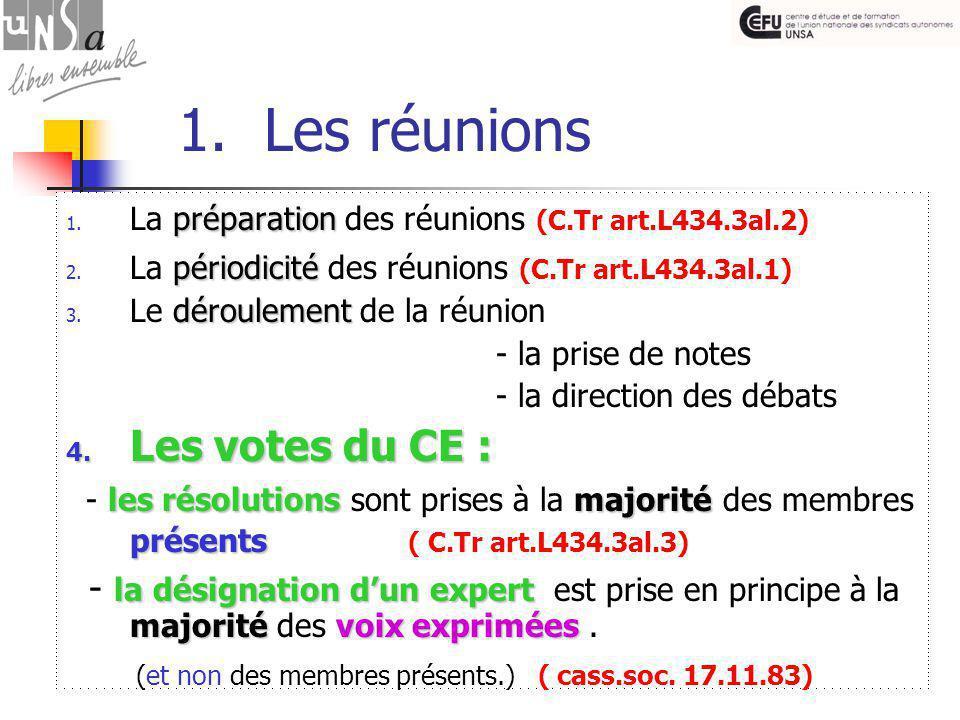 1. Les réunions préparation 1. La préparation des réunions (C.Tr art.L434.3al.2) périodicité 2.