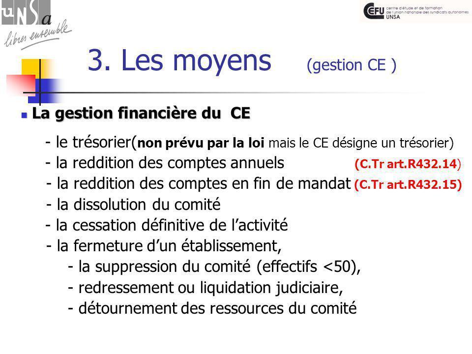 3. Les moyens (gestion CE ) La gestion financière du CE La gestion financière du CE - le trésorier( non prévu par la loi mais le CE désigne un trésori