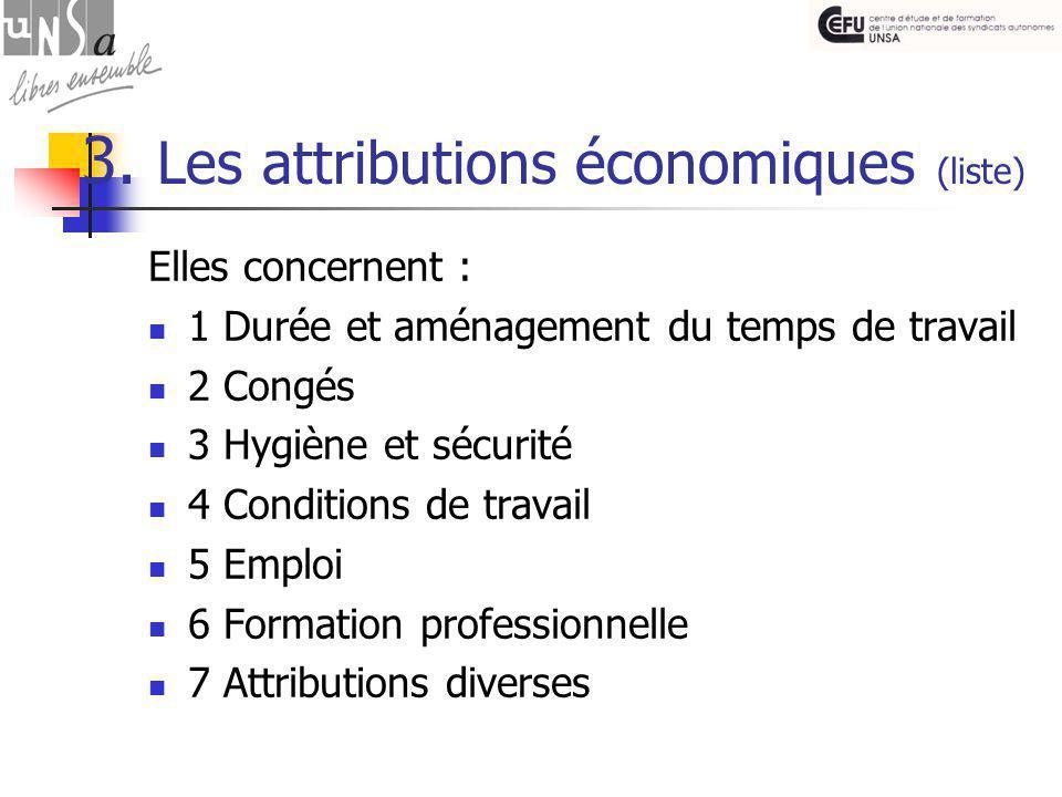 3. Les attributions économiques (liste) Elles concernent : 1 Durée et aménagement du temps de travail 2 Congés 3 Hygiène et sécurité 4 Conditions de t
