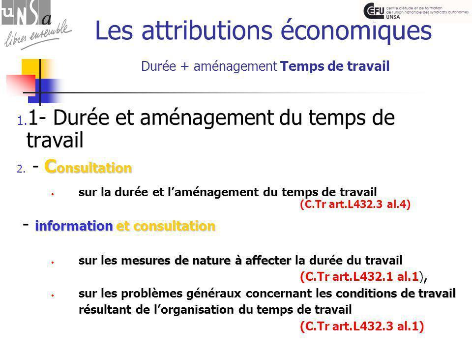 Les attributions économiques Durée + aménagement Temps de travail 1.