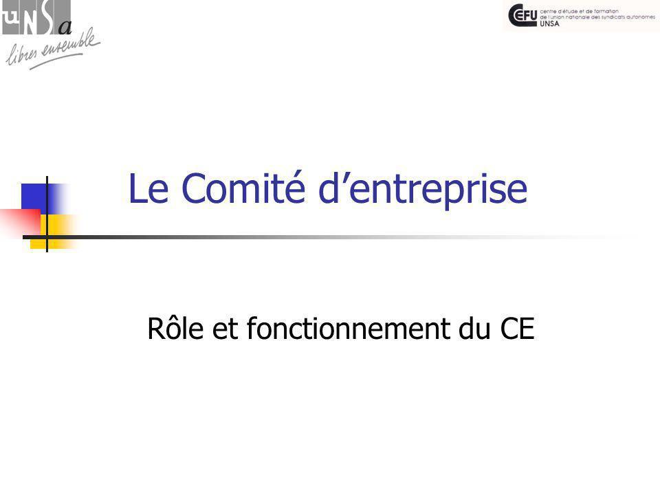 Le Comité d'entreprise Rôle et fonctionnement du CE