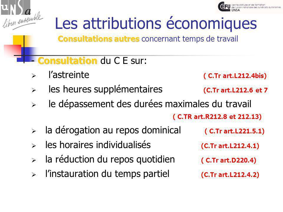Consultations autres Les attributions économiques Consultations autres concernant temps de travail Consultation - Consultation du C E sur:  l'astreinte ( C.Tr art.L212.4bis)  les heures supplémentaires (C.Tr art.L212.6 et 7  le dépassement des durées maximales du travail ( C.TR art.R212.8 et 212.13)  la dérogation au repos dominical ( C.Tr art.L221.5.1)  les horaires individualisés (C.Tr art.L212.4.1)  la réduction du repos quotidien ( C.Tr art.D220.4)  l'instauration du temps partiel (C.Tr art.L212.4.2)