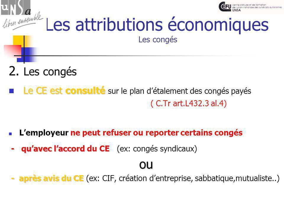 Les attributions économiques Les congés 2.