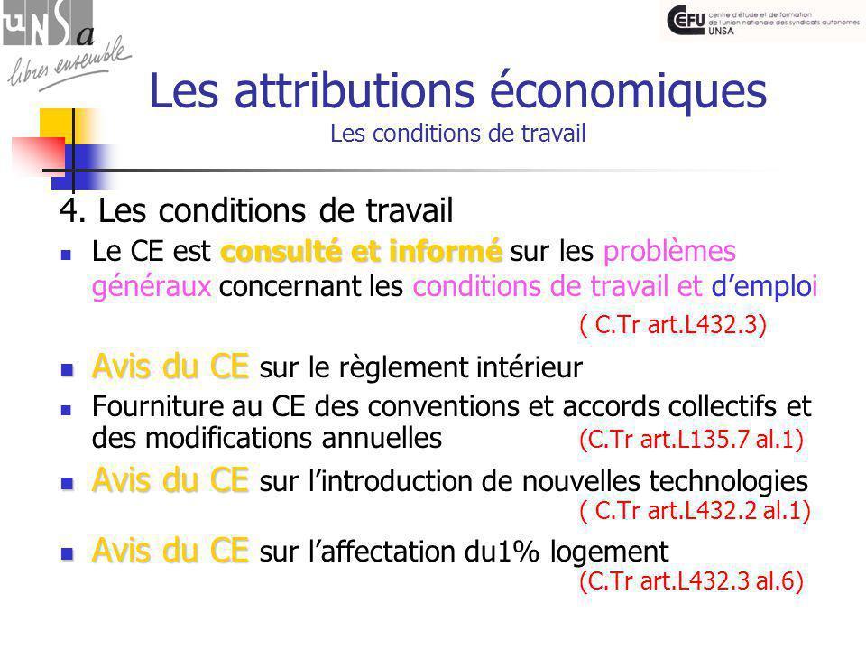 Les attributions économiques Les conditions de travail 4.