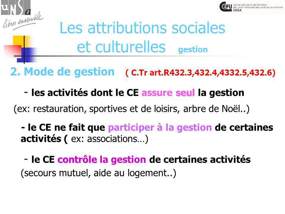 Les attributions sociales et culturelles gestion 2.