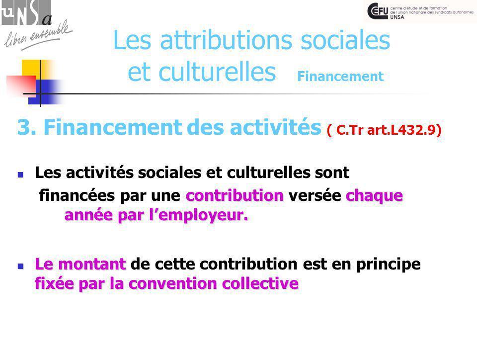 Les attributions sociales et culturelles Financement 3.