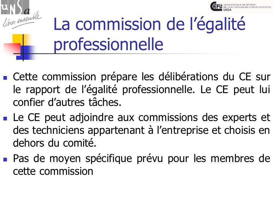 La commission de l'égalité professionnelle Cette commission prépare les délibérations du CE sur le rapport de l'égalité professionnelle.