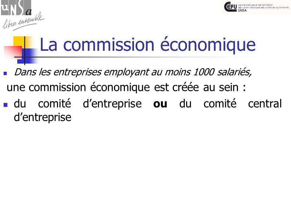 La commission économique Dans les entreprises employant au moins 1000 salariés, une commission économique est créée au sein : du comité d'entreprise ou du comité central d'entreprise