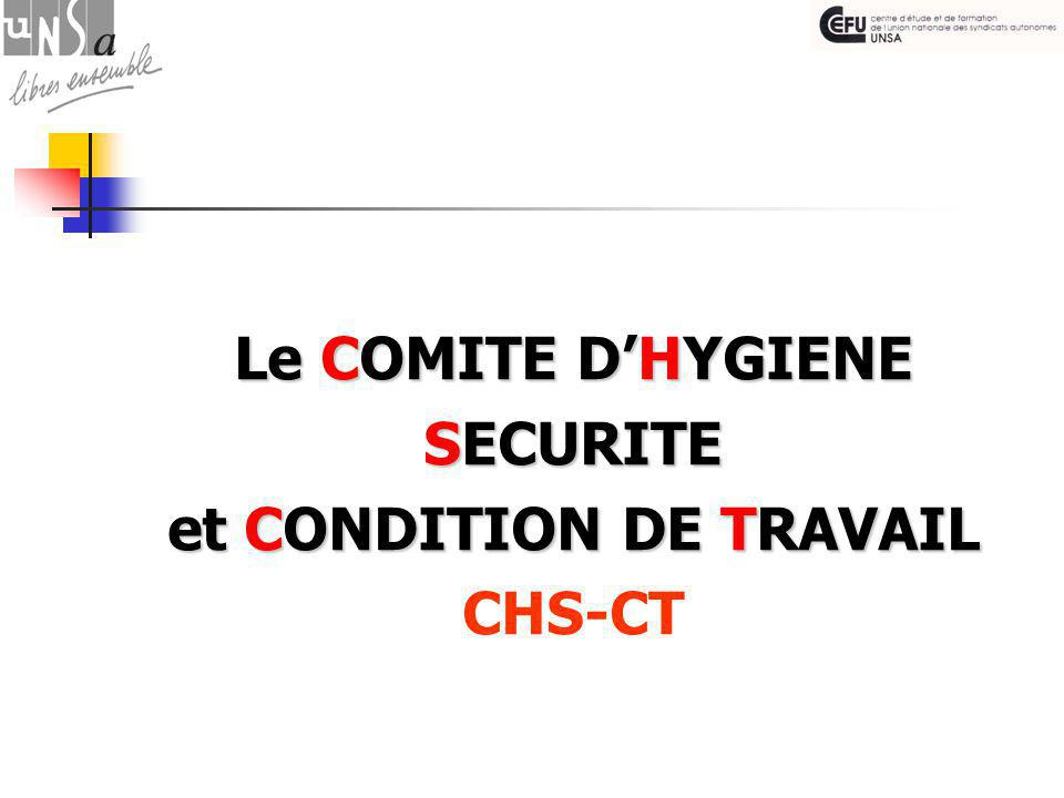 Le COMITE D'HYGIENE SECURITE et CONDITION DE TRAVAIL CHS-CT