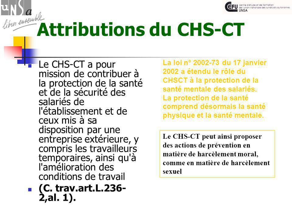Attributions du CHS-CT Le CHS-CT a pour mission de contribuer à la protection de la santé et de la sécurité des salariés de l établissement et de ceux mis à sa disposition par une entreprise extérieure, y compris les travailleurs temporaires, ainsi qu à l amélioration des conditions de travail (C.