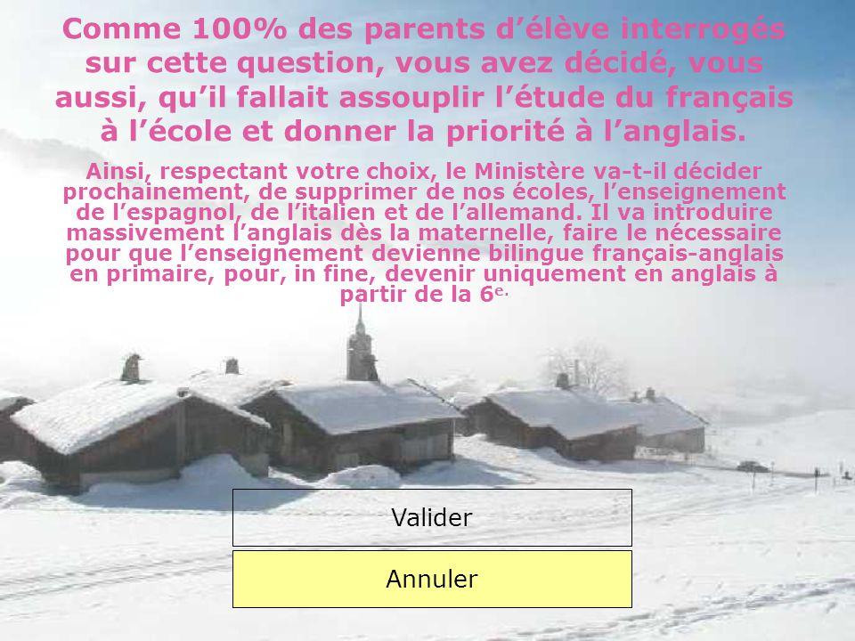 Comme 100% des parents d'élève interrogés sur cette question, vous avez décidé, vous aussi, qu'il fallait assouplir l'étude du français à l'école et donner la priorité à l'anglais.
