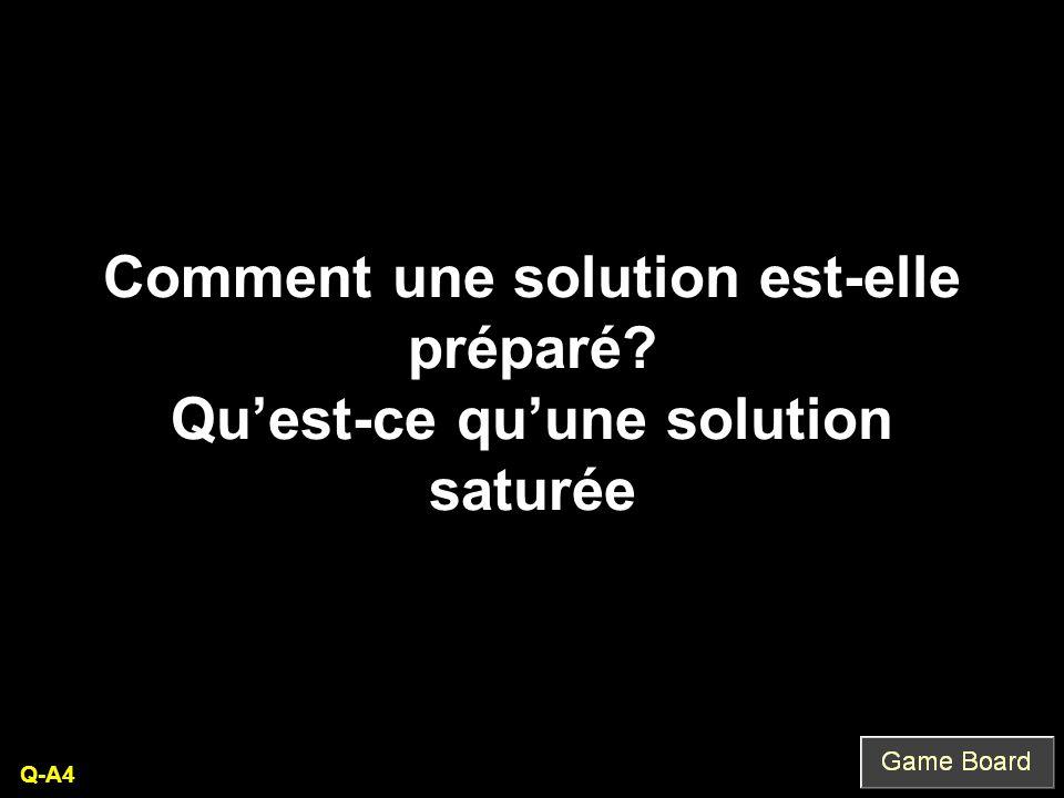 Comment une solution est-elle préparé Qu'est-ce qu'une solution saturée Q-A4