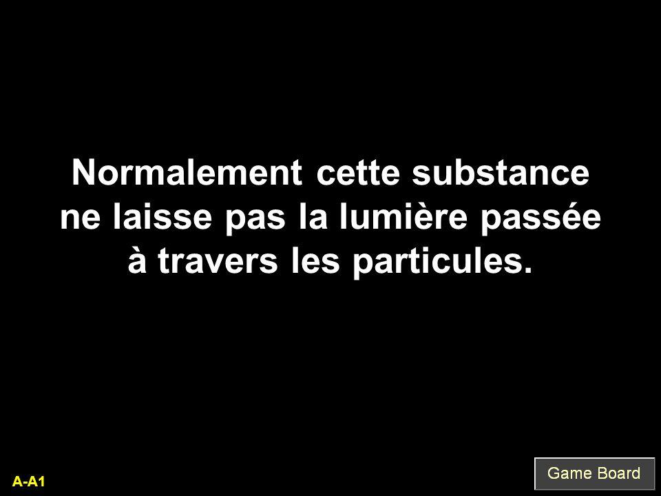 Normalement cette substance ne laisse pas la lumière passée à travers les particules. A-A1