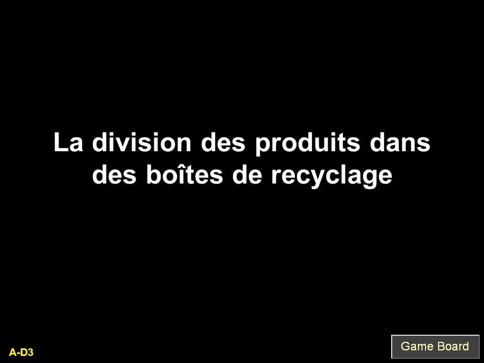 A-D3 La division des produits dans des boîtes de recyclage