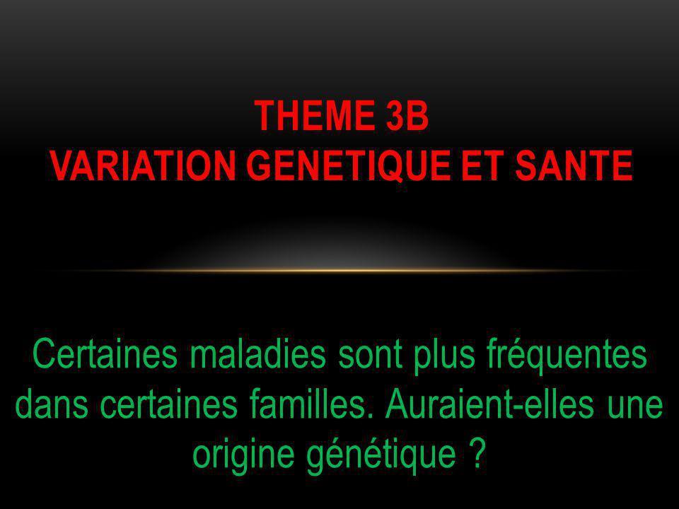 Certaines maladies sont plus fréquentes dans certaines familles. Auraient-elles une origine génétique ? THEME 3B VARIATION GENETIQUE ET SANTE
