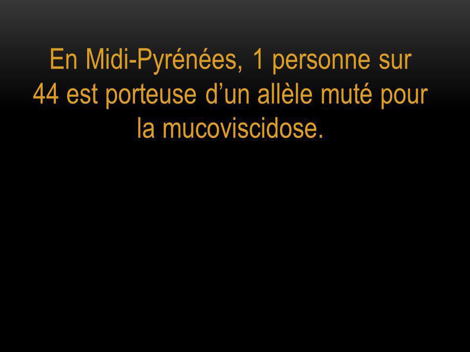 En Midi-Pyrénées, 1 personne sur 44 est porteuse d'un allèle muté pour la mucoviscidose.
