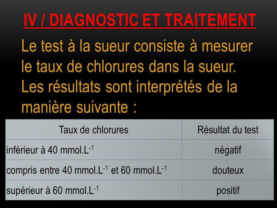 IV / DIAGNOSTIC ET TRAITEMENT Le test à la sueur consiste à mesurer le taux de chlorures dans la sueur. Les résultats sont interprétés de la manière s