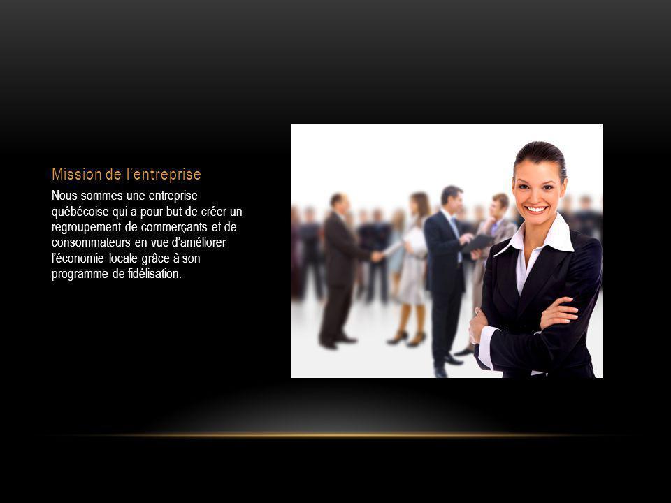 Mission de l'entreprise Nous sommes une entreprise québécoise qui a pour but de créer un regroupement de commerçants et de consommateurs en vue d'améliorer l'économie locale grâce à son programme de fidélisation.