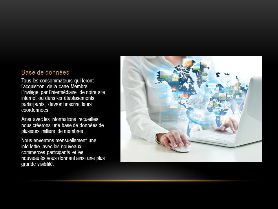 Base de données Tous les consommateurs qui feront l'acquisition de la carte Membre Privilège par l'intermédiaire de notre site internet ou dans les établissements participants, devront inscrire leurs coordonnées.