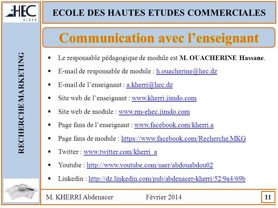 ECOLE DES HAUTES ETUDES COMMERCIALES RECHERCHE MARKETING M. KHERRI Abdenacer Février 2014 11  Le responsable pédagogique de module est M. OUACHERINE