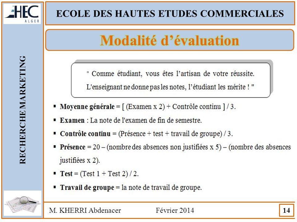 ECOLE DES HAUTES ETUDES COMMERCIALES RECHERCHE MARKETING M. KHERRI Abdenacer Février 2014 14