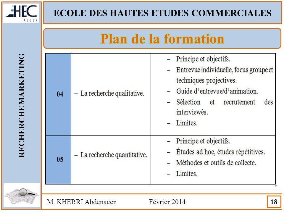 ECOLE DES HAUTES ETUDES COMMERCIALES RECHERCHE MARKETING M. KHERRI Abdenacer Février 2014 18