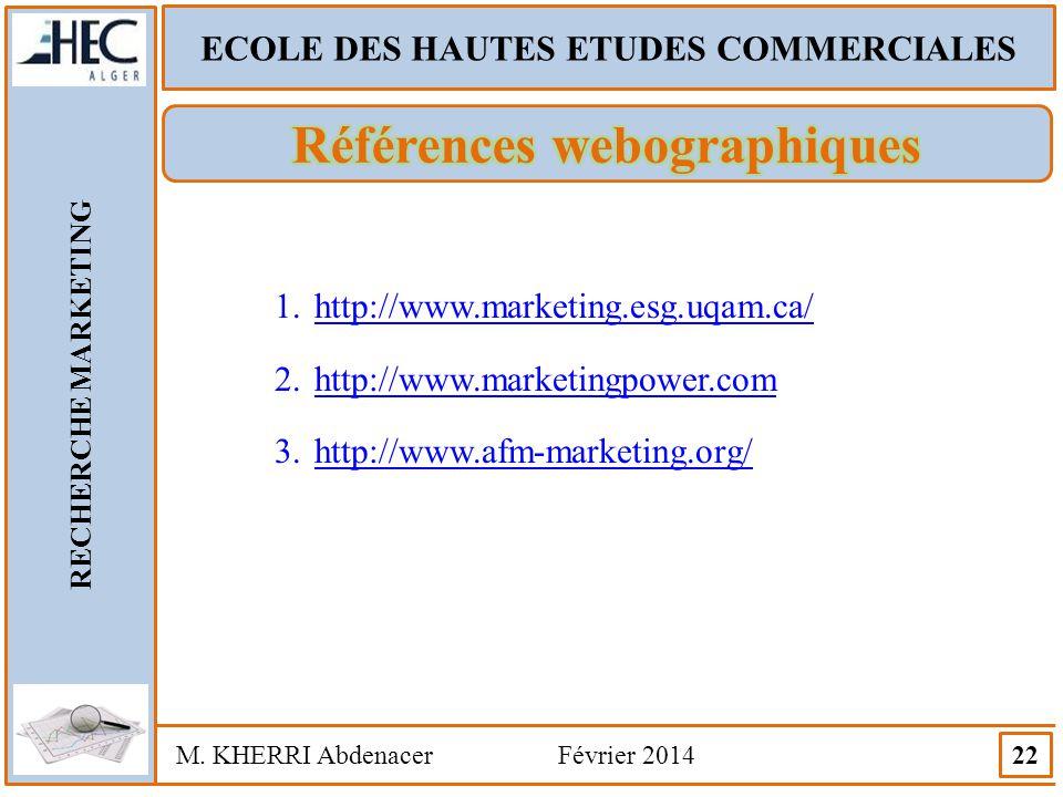 ECOLE DES HAUTES ETUDES COMMERCIALES RECHERCHE MARKETING M. KHERRI Abdenacer Février 2014 22 1.http://www.marketing.esg.uqam.ca/http://www.marketing.e