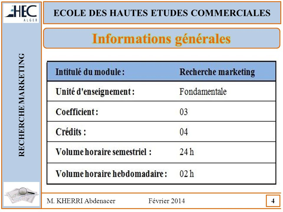 ECOLE DES HAUTES ETUDES COMMERCIALES RECHERCHE MARKETING M. KHERRI Abdenacer Février 2014 15