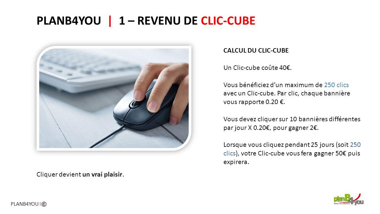 PLANB4YOU   1 – REVENU DE CLIC-CUBE CALCUL DU CLIC-CUBE Un Clic-cube coûte 40€. Vous bénéficiez d'un maximum de 250 clics avec un Clic-cube. Par clic,