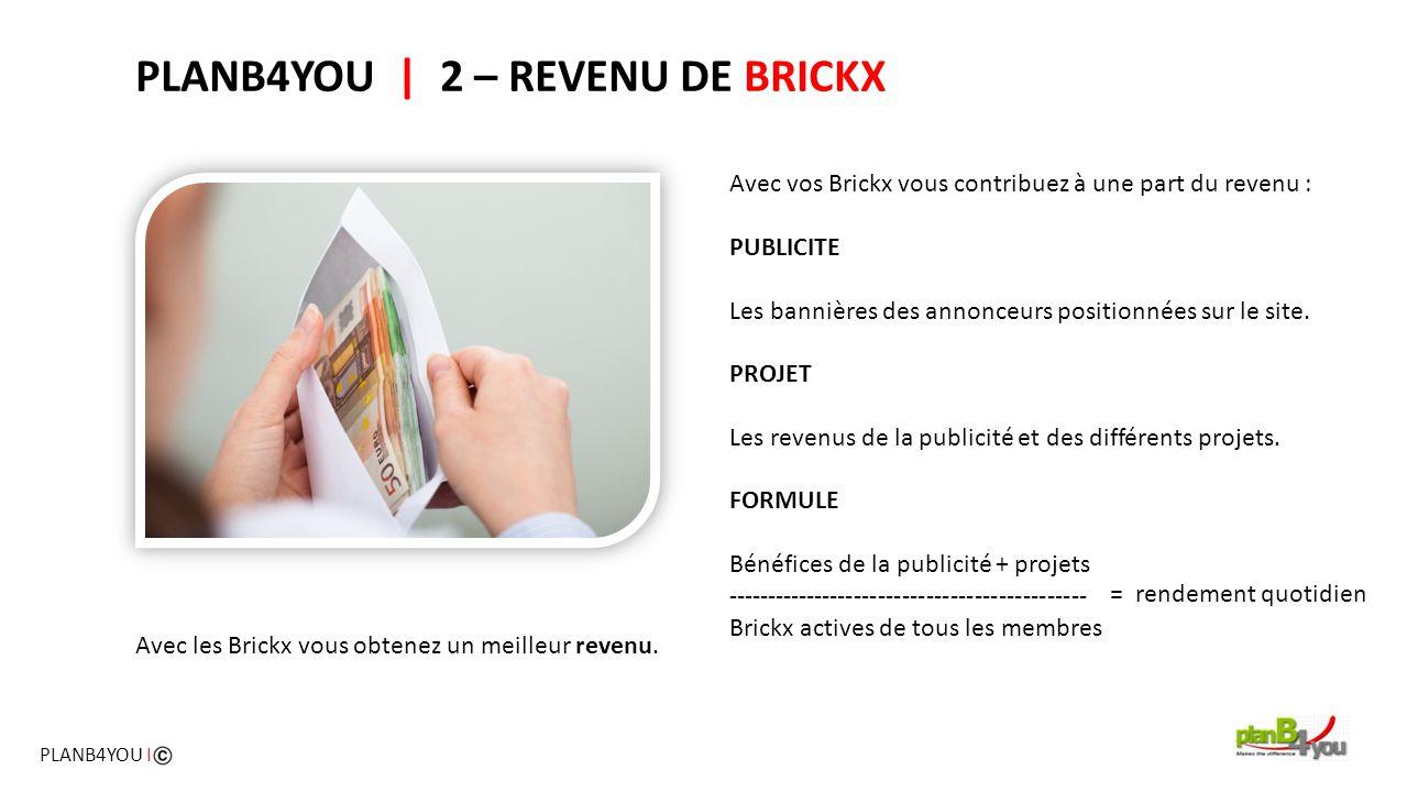 Avec vos Brickx vous contribuez à une part du revenu : PUBLICITE Les bannières des annonceurs positionnées sur le site. PROJET Les revenus de la publi