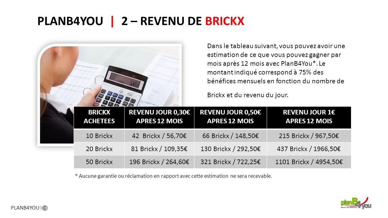 PLANB4YOU   2 – REVENU DE BRICKX Dans le tableau suivant, vous pouvez avoir une estimation de ce que vous pouvez gagner par mois après 12 mois avec Pl