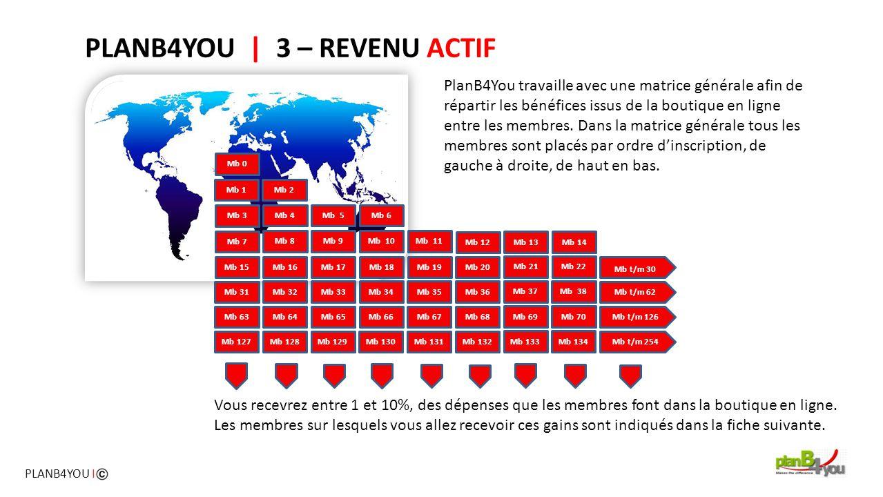 PlanB4You travaille avec une matrice générale afin de répartir les bénéfices issus de la boutique en ligne entre les membres. Dans la matrice générale