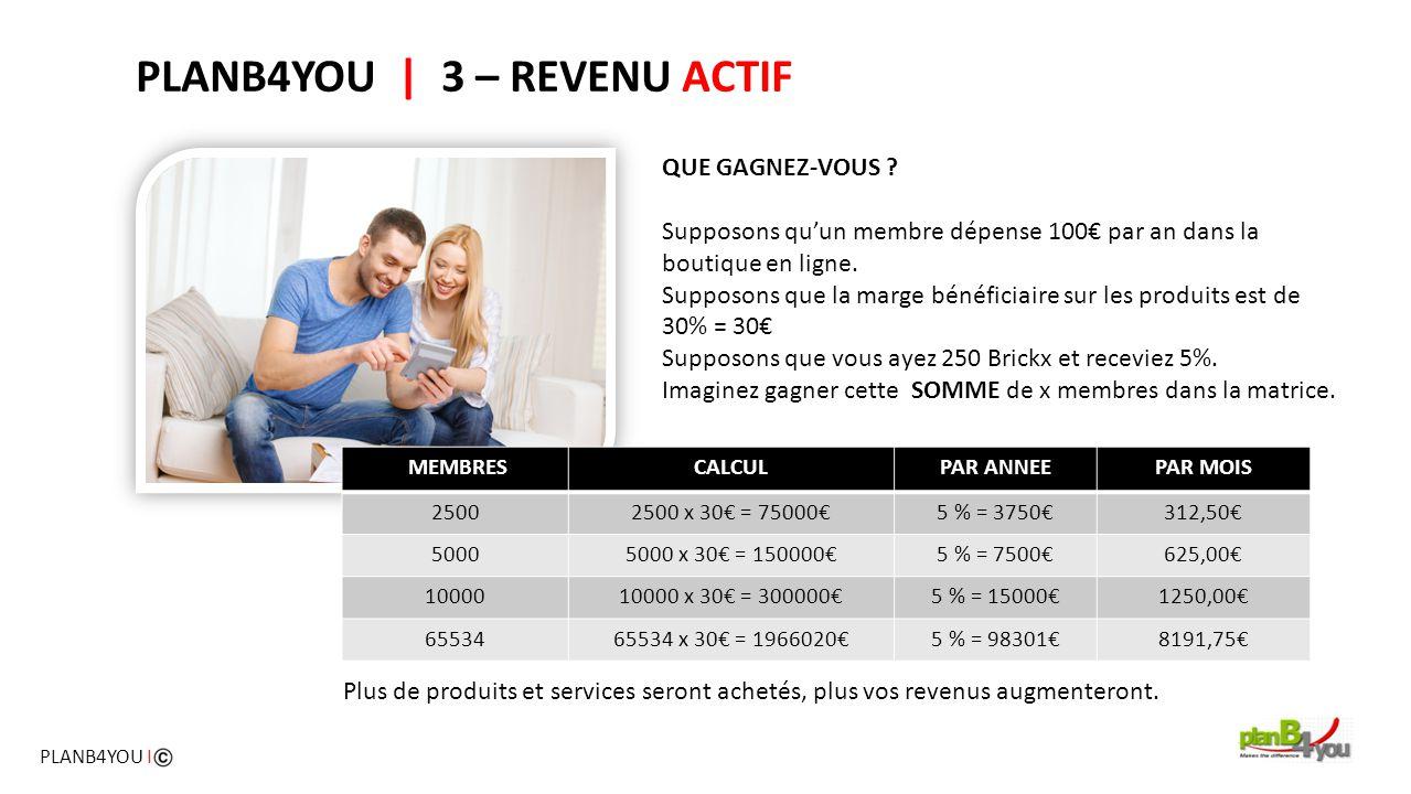 PLANB4YOU   3 – REVENU ACTIF QUE GAGNEZ-VOUS ? Supposons qu'un membre dépense 100€ par an dans la boutique en ligne. Supposons que la marge bénéficiai
