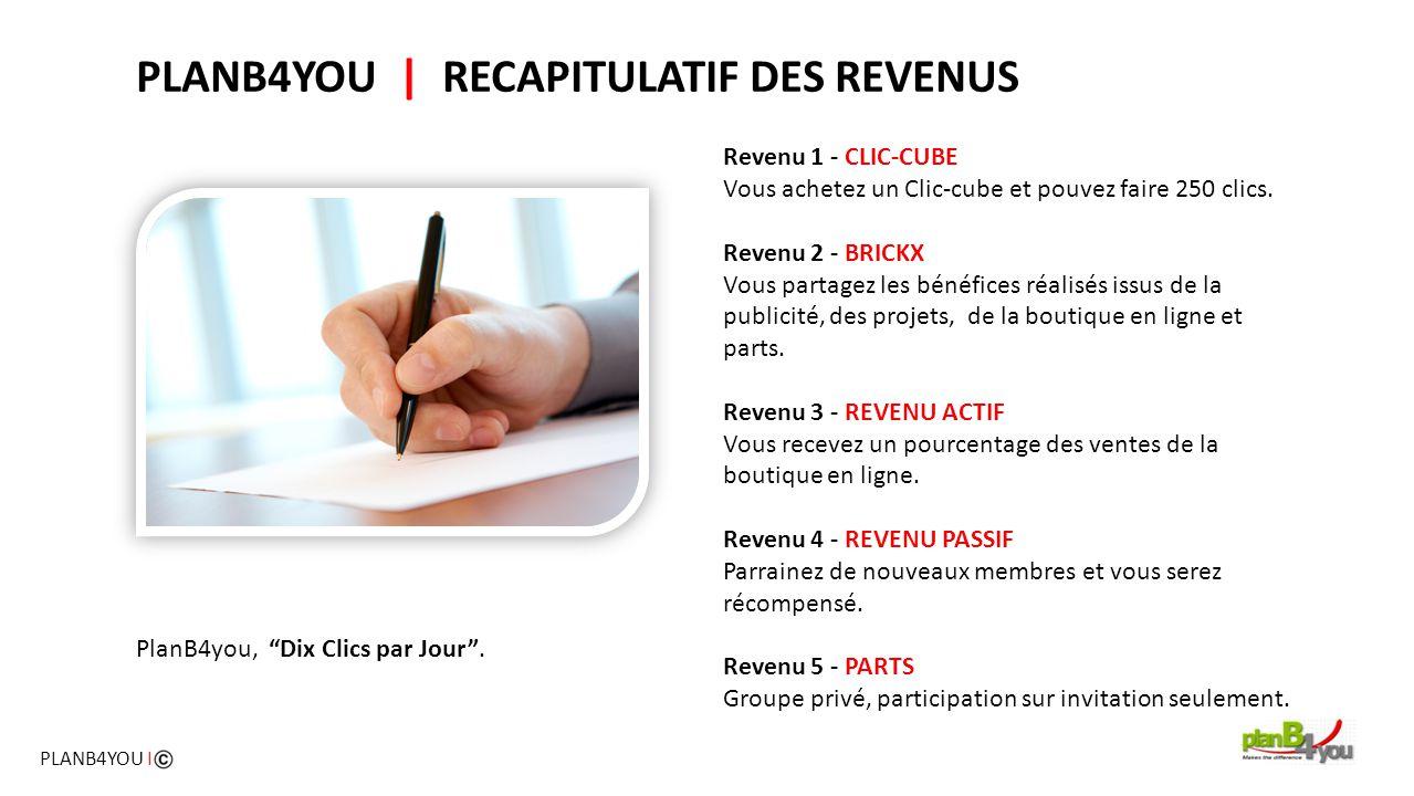 PLANB4YOU   RECAPITULATIF DES REVENUS Revenu 1 - CLIC-CUBE Vous achetez un Clic-cube et pouvez faire 250 clics. Revenu 2 - BRICKX Vous partagez les bé