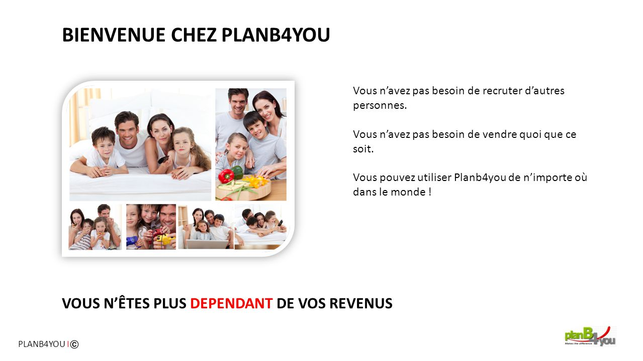 PLANB4YOU | 4 – REVENU PASSIF Supposons que vous ayez parrainé 14 membres dans PlanB4You.