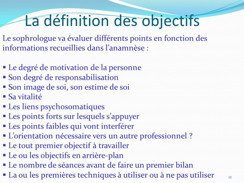 Le sophrologue va évaluer différents points en fonction des informations recueillies dans l'anamnèse :  Le degré de motivation de la personne  Son d