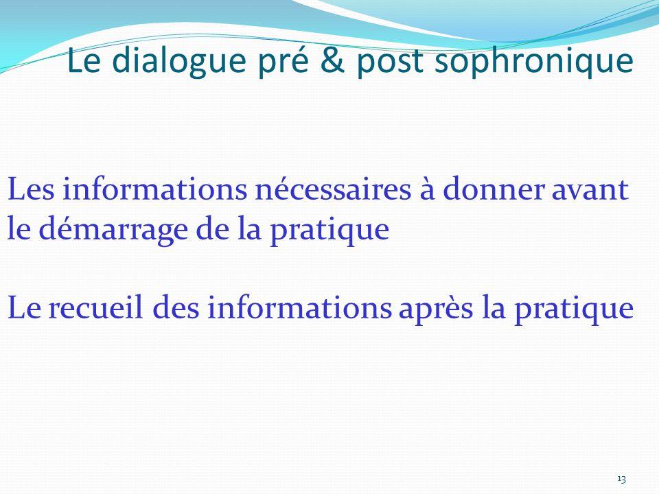 Les informations nécessaires à donner avant le démarrage de la pratique Le recueil des informations après la pratique Le dialogue pré & post sophroniq