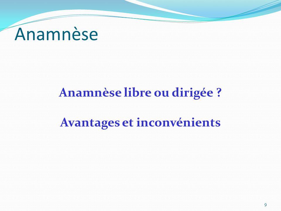 Anamnèse libre ou dirigée ? Avantages et inconvénients Anamnèse 9