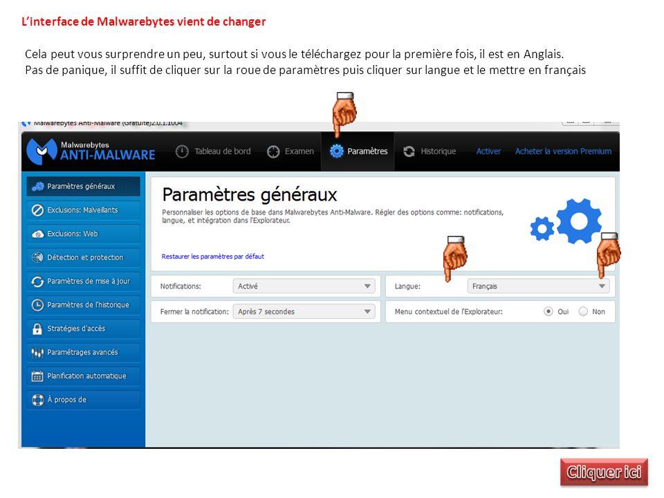L'interface de Malwarebytes vient de changer Cela peut vous surprendre un peu, surtout si vous le téléchargez pour la première fois, il est en Anglais.